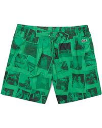 Lacoste X Polaroid Print Swimming Trunks Green & Black - Verde