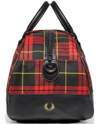 Fred Perry Polyester Subculture Tartan Grip Bag - Rot