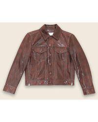 Ganni Brown Snake Foil Leather F 4528 Jacket