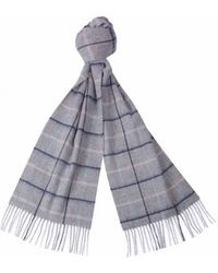 Barbour Country Tattersall Scarf Gray Blue Pink
