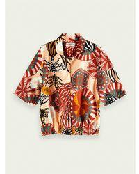 Scotch & Soda Printed Hawaiian Shirt In Viscose Jacquard Fabric - Multicolour