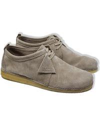 Clarks Sand Ashton Suede Shoes - Grey