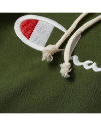 Champion Coton vert bouteille 212574-BAF Sweat à capuche avec logo de script à tissage inversé pour homme