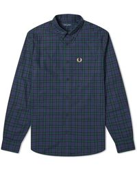 Fred Perry Authentic Button Down Winter Tartan Shirt Carbon Blue