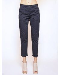 Woolrich Navy Cotton Stretch Satin Womens Trousers - Blue