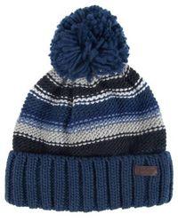 Barbour Harrow Streifen Beanie Hut grau blau