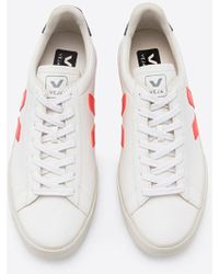 Veja Blanco Naranja Fluo Cobalt Chromefree Leather Campo Mujer Zapatos