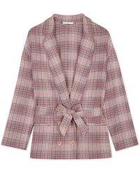 Sessun Pink And Beige Cotton Checked Avaroa Garment Blazer