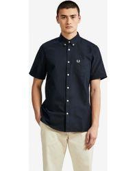 Fred Perry - Camisa Oxford clásica de algodón azul marino - Lyst