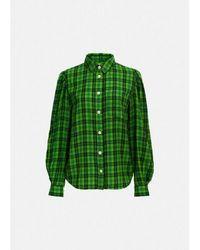 Essentiel Antwerp Camisa Manga Abullonada Almendra Ver - Verde