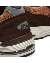 New Balance Scarpe M991DBT in pelle scamosciata marrone cioccolato