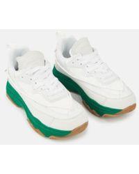 Essentiel Antwerp Zapatillas blancas con suelas vers gruesas - Verde