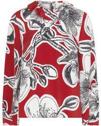 Stine Goya Poppy Silk Flounce Collar Top - Red