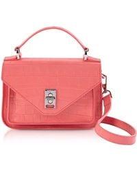 Rebecca Minkoff Mini Darren Messenger Bag Croco Embossed Pink