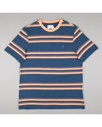 Farah Https://www.trouva.com/it/products/-orange-and-navy-mission-short-sleeve-striped-t-shirt - Blu