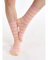Essentiel Antwerp Ribbed Stripe Socks Rose Gold - Pink