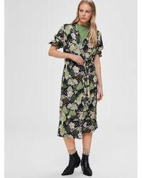 SELECTED Botanical Wrap Midi Dress - Green