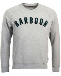 Barbour - Sweat Prep Logo Crew Homme Gris Chiné - Lyst