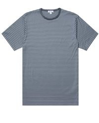 Sunspel Camiseta Classic Crew Azul Pizarra Acero Azul Rayas Inglesas