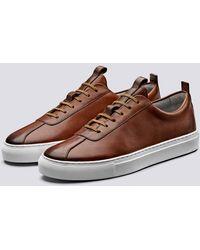Grenson Sneaker 1 Tan dipinta a mano - Marrone
