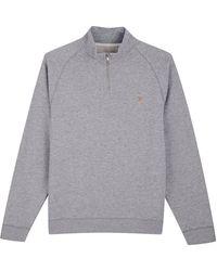 Farah Jim 1 4 Zip Sweatshirt Light Grey Marl