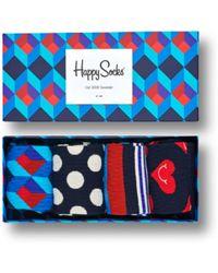 Happy Socks Geschenkbox 4er Pack Nautische Geschenksocken - Blau