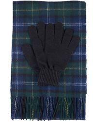 Barbour Set de regalo con guante y bufanda de tartán Tartán de algas marinas - Azul