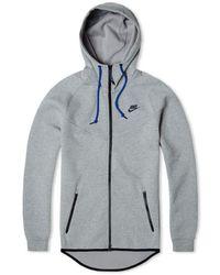 Nike Felpa con cappuccio Windrunner in pile tecnico grigia - Grigio