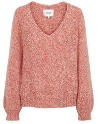 Second Female Coral West Knit V Neck Jumper - Pink