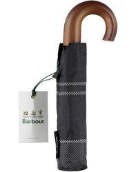 Barbour Mini Paraguas Tartan Negro Gris