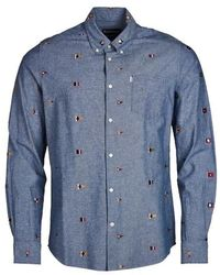 Barbour Chambray Flag Tailored Fit Shirt - Blau