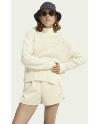 Maison Scotch High Neck Alpaca Blend Knit Cardigan Icy White