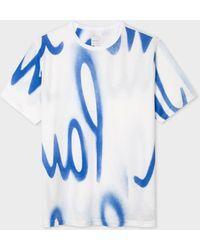 Paul Smith Camiseta blanca de algodón con estampado 'Spray' - Blanco