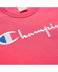 Champion T-shirt Reverse Weave Script Logo rosa fluo