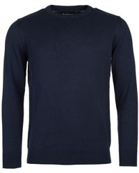 Barbour Pima Cotton Crew Knit Navy - Blau