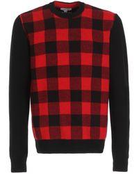 Woolrich Pull ras du cou en laine mérinos rouge et noir