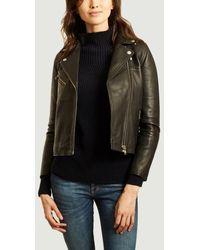 Samsøe & Samsøe Tautou Lambskin Leather Jacket - Black