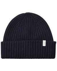 SELECTED Merino Wool Beanie Navy - Blue
