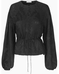 Stine Goya Sahara Balloon Sleeve Top Black Lace - Negro