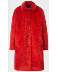 Paul Smith - Red Teddy Bear Coat - Lyst