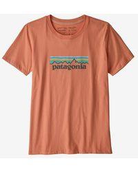 Patagonia Camiseta Ws Pastel P 6 Logo Organic Crew Mellow Melon - Naranja