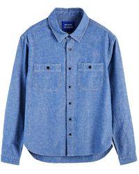 Scotch & Soda Blue Stone Wash Chambray Workwear Shirt - Blau