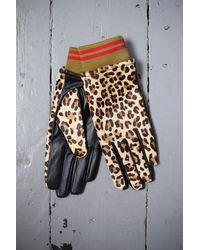 Scotch & Soda Leopard Print Leather Gloves - Multicolor