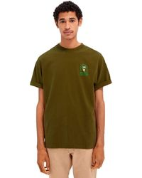 Scotch & Soda Maglietta artistica in jersey di cotone verde rilassato