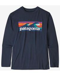 Patagonia Navy Jungen L S Cap Cool Daily T-Shirt Neu - Blau