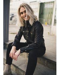 Second Female Chemise en cuir noir Gitte