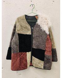 YMC Reversible 2 in 1 Patch Coat di pelle di pecora Brown Multi Ultimo pezzo - Multicolore