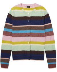 Paul Smith Winding Stripe Wool-blend Cardigan Multicolour - Blue