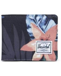 Herschel Supply Co. Summer Floral Black Roy Wallet - Blue
