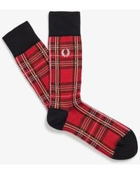 Fred Perry Royal Stewart Tartan Socks Red